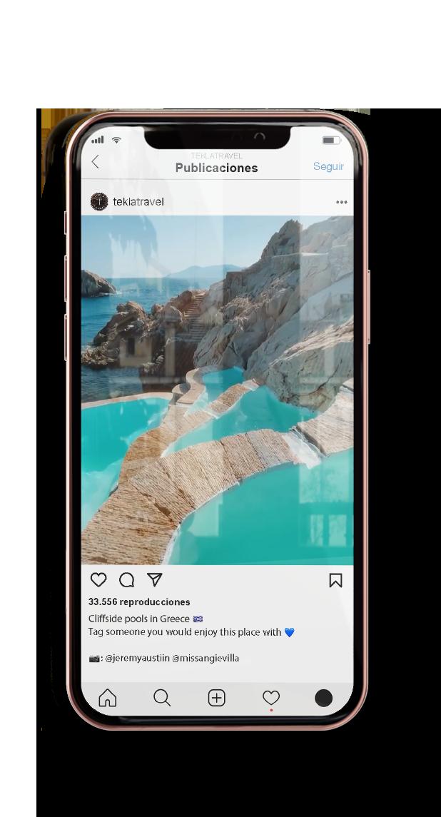 Móvil con redes sociales de Tekla Marketing